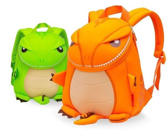 Детский рюкзак NOHOO Тиранозавр оригинал Салатовые и оранжевые