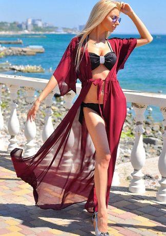 пляжная туника в пол парео накидка шифоновый халат пляжна тунiка плать