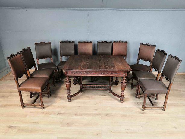 Piękny komplet. Stół oraz 10 krzeseł,Eklektyk,ANTYK