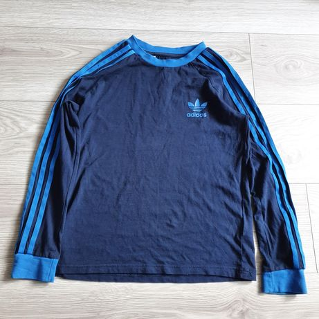 Bluzka Adidas Longsleeve chłopięce granatowa niebieska koszulka 146