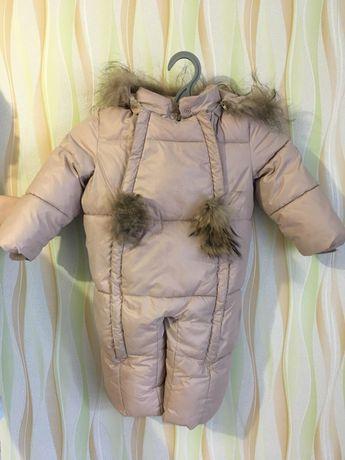 Пуховый зимний комбинезон для малышей