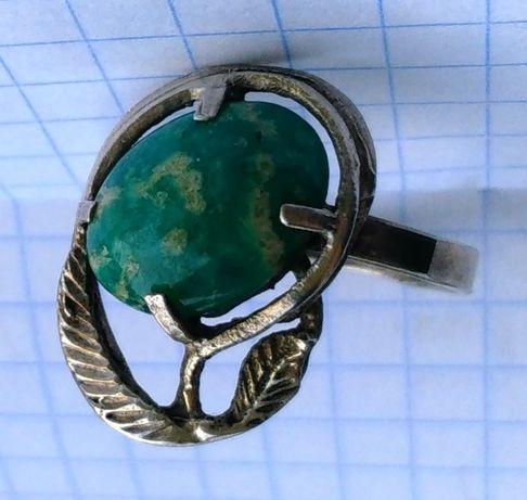 Кольцо с камнем амазонит СССР серебро Ереван 916