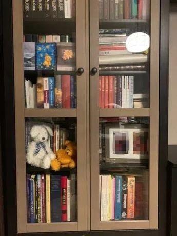 Witryna z drzwiami szklanymi, Ikea HEMNES, czarnobrązowy
