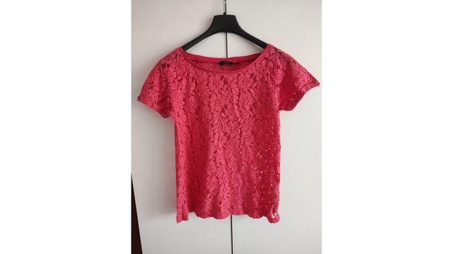 Koszulka różowa w koronkę XS