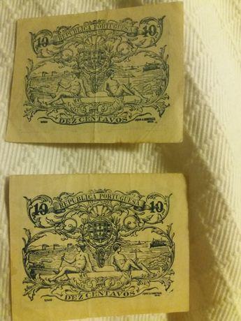 Duas notas de 10 centavos de 1917