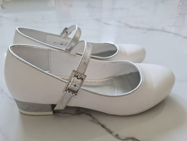 Buty komunijne r. 36 na białe balerinki, brokatowy obcasie Deichmann