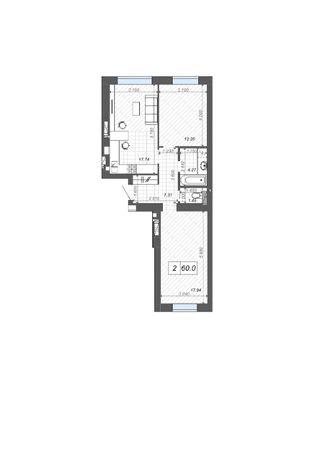 2 ком. квартира 60 м2 в центре Ирпеня. ЖК Новые Метры Centre.