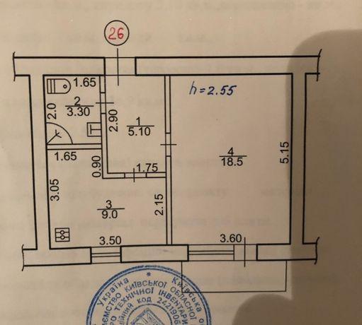 Продаю 1комнатную квартиру 36 кв. м. г.Ржищев, Киевская обл.