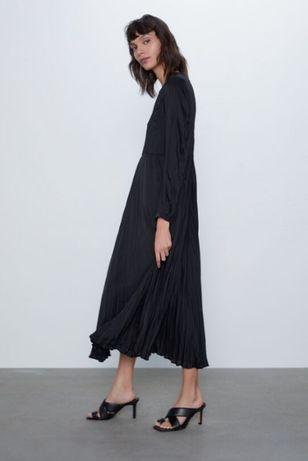 Удлиненное свободное черное платье zara