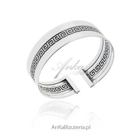 ankabizuteria.pl Szeroka bransoleta srebrna sztywna z greckim wzorem