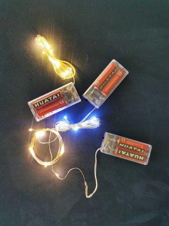 Lampki Micro Led na druciku 20szt + 2x bateria R6