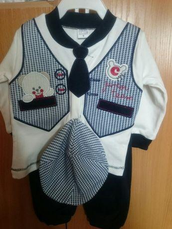 Komplet dla chlopca ubranko, spodnie, bluzka, kaszkiet, krawat