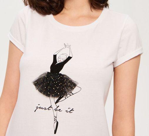 SINSAY T-shirt biały z baletnicą tiul złoto 3D  Rozmiar S  Nowy