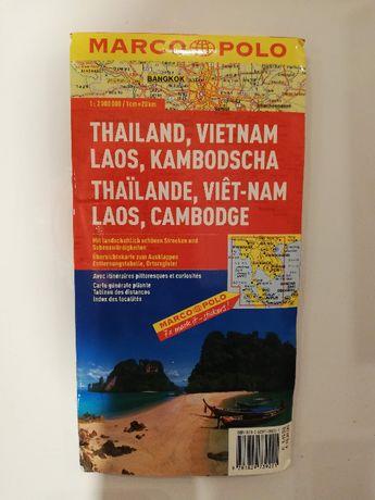Tajlandia Wietnam Laos Kambodża mapa Marco Polo