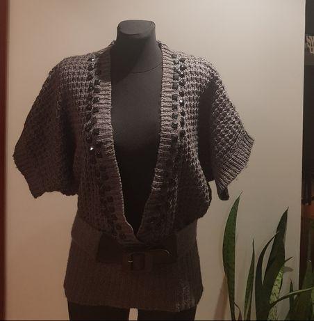 Sweterek dzianinowy , krótki rękaw , stan bdb