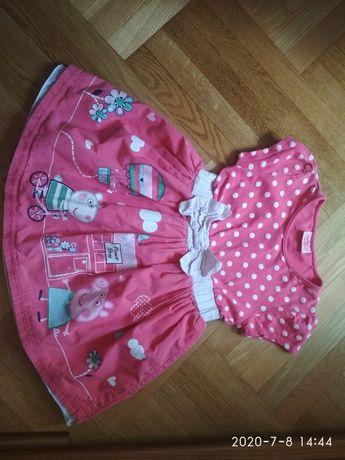 Платье свинка Пеппа 2-3 года 92-98 см
