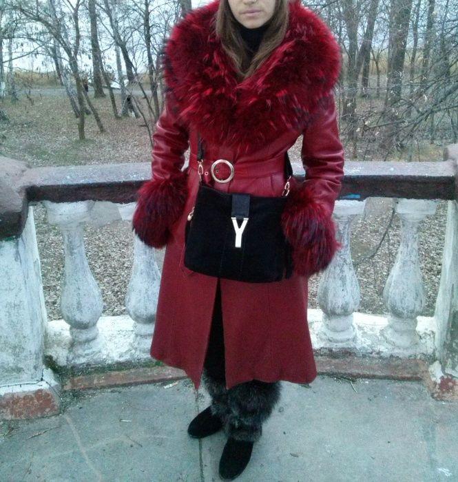 кожаное пальто размер 42-44 Новая Каховка - изображение 1