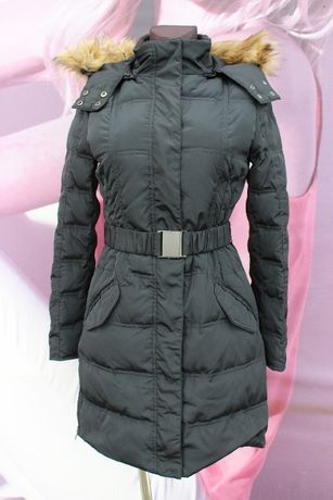 Зимнее черное пальто пуховик ichi 70% пух (размер XS)