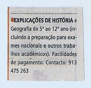 Explicações de História e Geografia/Exames Nacionais/E. Superior