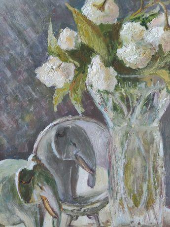 Оригінальна картина маслом. Натюрморт Слон і квіти у вазі