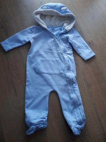 Pajac niemowlęcy z kapturkiem niebieski 74