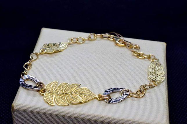 Piękna Złota Bransoletka Listki zdobiona białym złotem