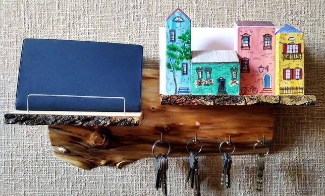 ЭКСКЛЮЗИВ, Ключница с домиками из натурального дерева. Ручная работа.