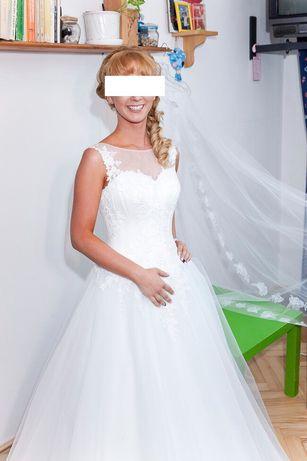 suknia ślubna wesele księżniczka princeska tiul welon długi plecy36/38