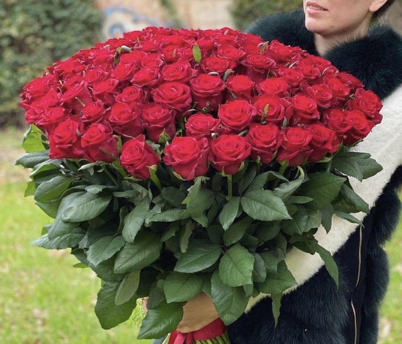 Огромный букет из метровой розы 51 красная роза Одесса Одесса - изображение 1