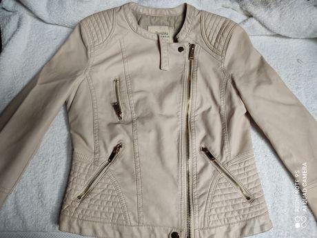 Bershka Ramoneska, kurtka Biker rozmiar M, Beżowa Stone