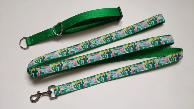 Komplet dla psa flamingi kaktusy zielony obroża półzaciskowa smycz