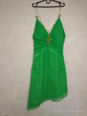 Ярко зеленое нарядное вечернее платье сукня для девочки 10-15 лет