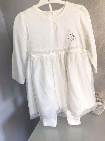 Komplet sukienka świąteczna tiulowa leginsy kremowe rozmiar 86