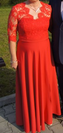 Długa sukienka, czerwona suknia balowa 46