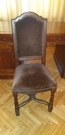 Eleganckie krzesła drewniane (2 szt) wykończone brązowym pluszem