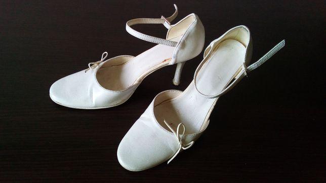 Buty ślubne białe, skóra, rozmiar 37