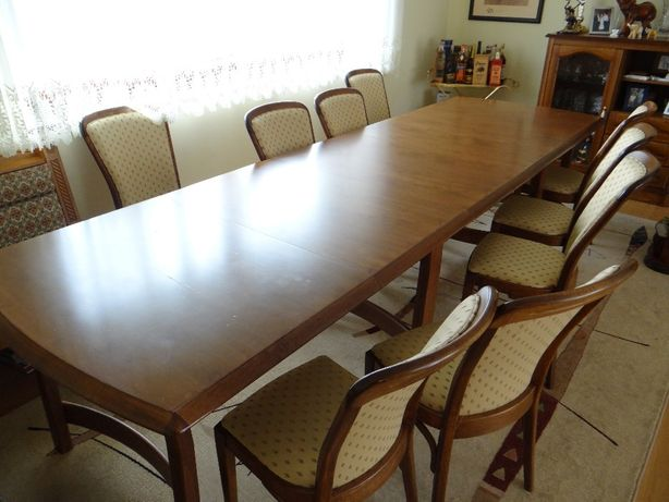 Stół dębowy zestaw 12 krzesła tapicerowane