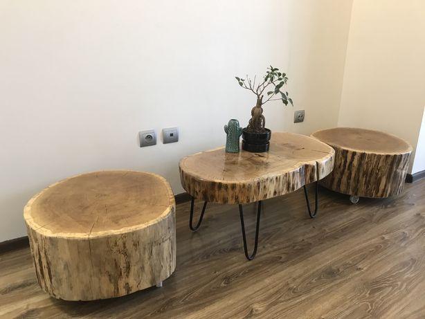 Stolik z plastra drewna dębowego