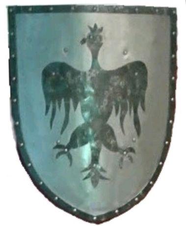 Replika polskiej tarczy średniowiecznej, metalowa