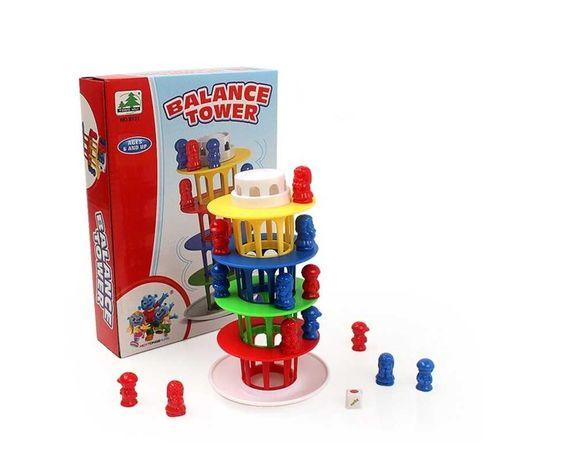 Gra zręcznościowa rodzinna chwiejąca się balansująca krzywa wieża