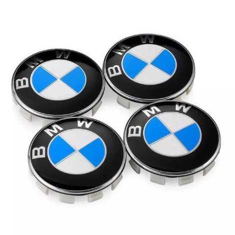 4x Centros Jantes BMW 68mm Azul / Preto