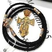 Крест со шнурком Серебро 925 пробы с позолотой