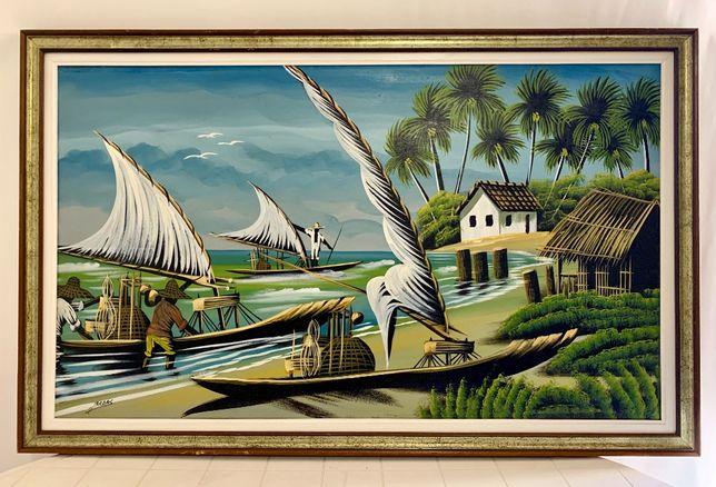 Pintura a óleo - Praias Brasileiras - 1,30 x 0,80 !