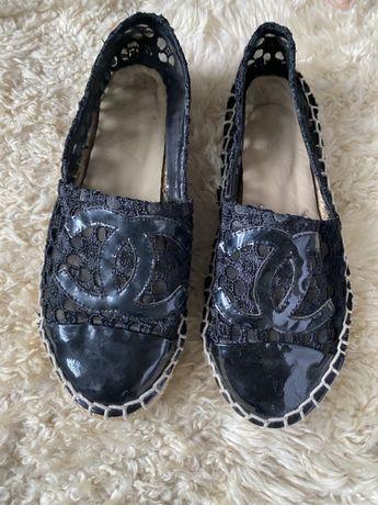 Chanel espadrilles pretas com renda - tam 37/38