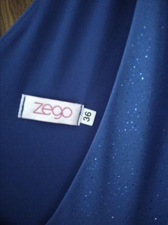 długa suknia sukienka maxi do ziemi niebieska brokatowa błyszcząca 36