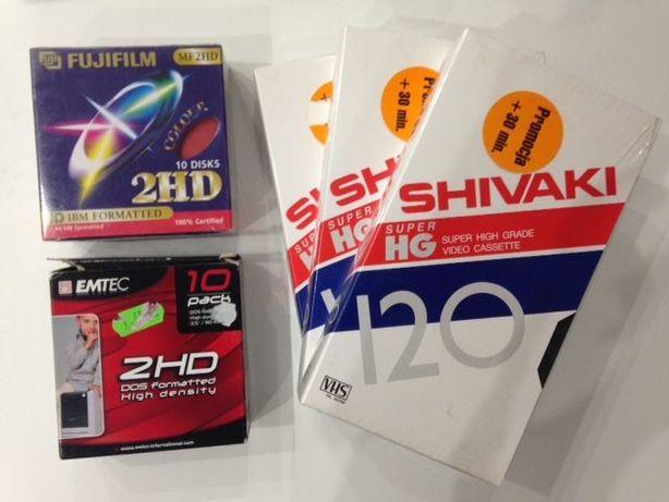 kasety VHS Shivaki nowe dyskietki Emtec Fujifilm