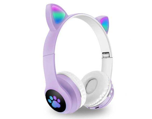Cat Ear наушники с Led светящими ушками и лапками VZV-23M беспроводные