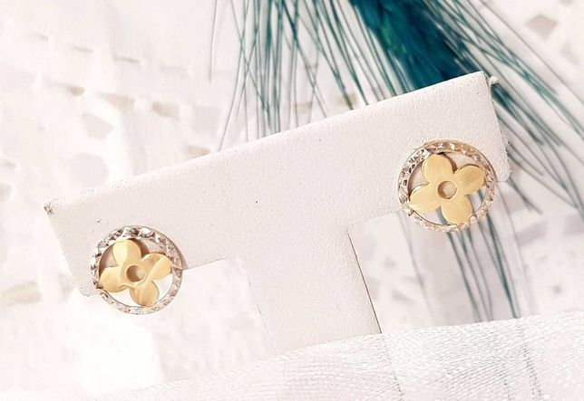 Złote okrągłe kolczyki kwiatuszki koniczynki białe złoto pr. 333