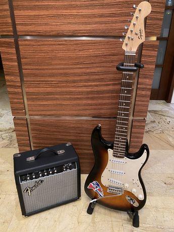 Gitara elektryczna Fender Squier + stojak + wzmacniacz