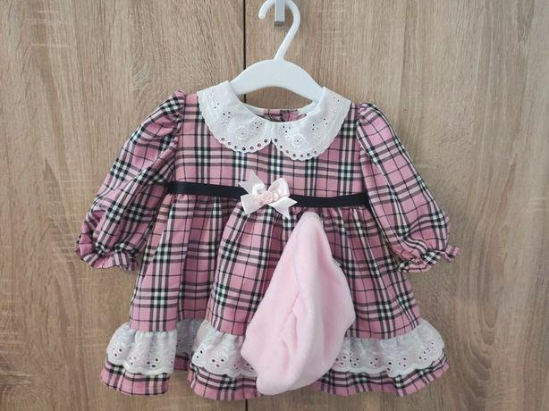 Nowa różowa sukienka w kratkę z kołnierzykiem, koronką + berecik